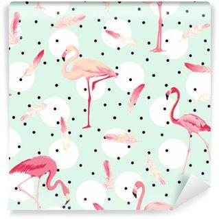 Tvättbar Fototapet Flamingofågel bakgrund. Flamingo Feather bakgrund. Retro sömlösa mönster
