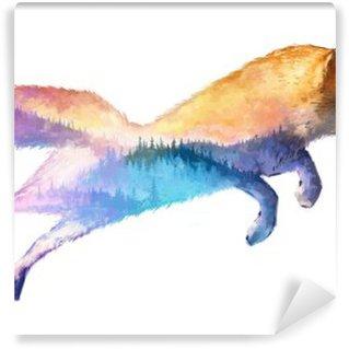 Tvättbar Fototapet Fox dubbelexponering illustration