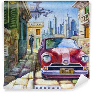 Tvättbar Fototapet Gammal röd bil på Sunny Street
