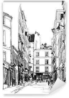Tvättbar Fototapet Gata nära Montmartre i Paris