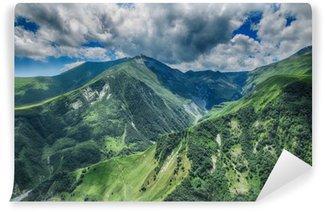 Tvättbar Fototapet Georgia fjällnatur landskap vacker sommar Kazbegi