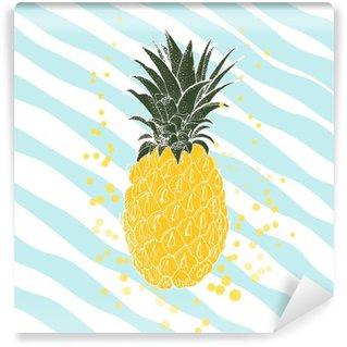 Tvättbar Fototapet Handritad ananas. vektor bakgrund