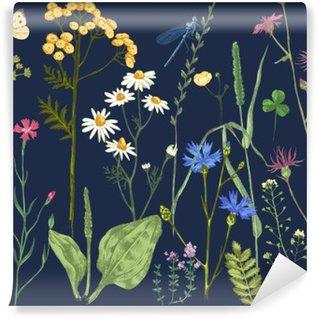 Tvättbar Fototapet Handritad in med örter och blommor