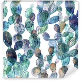 Tvättbar Fototapet Kaktus mönster i akvarell stil