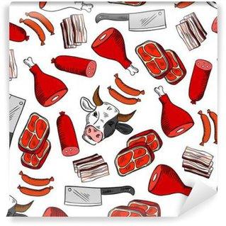 Tvättbar Fototapet Kött skär seamless för köttaffär konstruktion