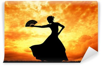 Tvättbar Fototapet Kvinna dansar flamenco