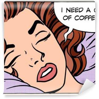 Tvättbar Fototapet Kvinna drömmar morgon kopp kaffe