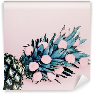 Tvättbar Fototapet Livet i rosa. Ananas bakgrund. minimal stil