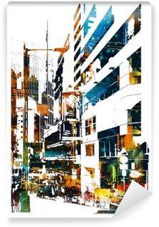 Tvättbar Fototapet Modern urban stad, illustration målning