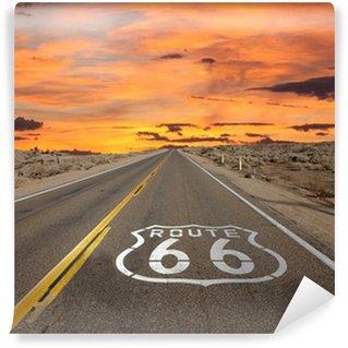 Tvättbar Fototapet Route 66 Pavement Sign Sunrise Mojaveöknen