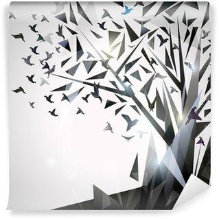 Tvättbar Fototapet Sammanfattning Träd med origamifåglar.