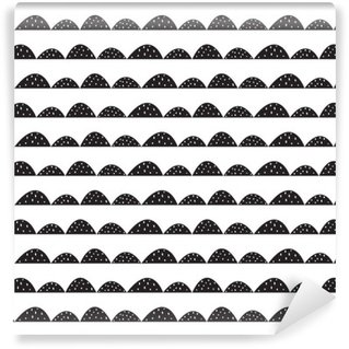 Tvättbar Fototapet Scandinavian sömlösa svart och vitt mönster i handritad stil. Stiliserade hill rader. Wave enkelt mönster för tyg, textil och barn linne.