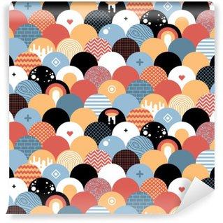 Tvättbar Fototapet Seamless geometriskt mönster i platt stil. Användbart för inslagning, tapeter och textilier.