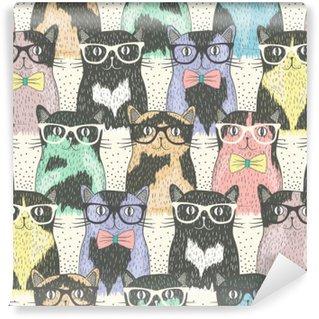 Tvättbar Fototapet Seamless hipster gulliga katter för barn