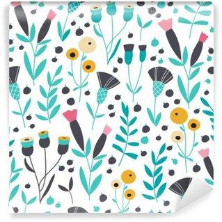 Tvättbar Fototapet Seamless ljusa skandinaviska blommiga mönster