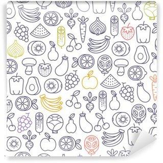Tvättbar Fototapet Seamless med frukt och grönsaker ikoner