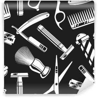 Tvättbar Fototapet Seamless mönster bakgrund med vintage barberare butik verktyg