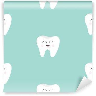 Tvättbar Fototapet Seamless Mönster tand hälsa. Gullig rolig tecknad leende karaktär. Oral tandhygien. Barn tänder vård. Barnet textur. Platt design. Blå bakgrund.