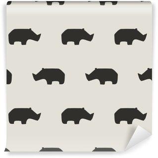 Tvättbar Fototapet Seamless rhino mönster