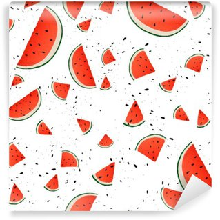 Tvättbar Fototapet Seamless vattenmelon skivor. Vektor sommar bakgrund med räcker utdragna skivor av vattenmelon. Vektor.