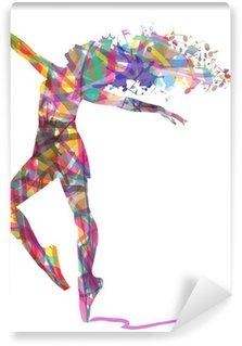 Tvättbar Fototapet Silhuett ballerina sammansatt av färger