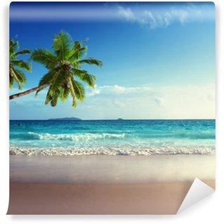 Tvättbar Fototapet Solnedgång på Seychellerna strand