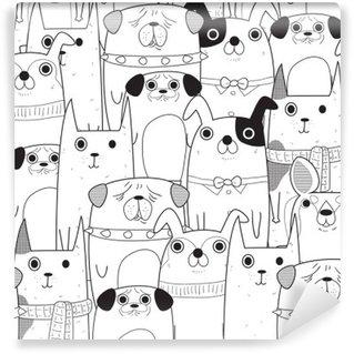 Tvättbar Fototapet Sömlösa Hundar mönster