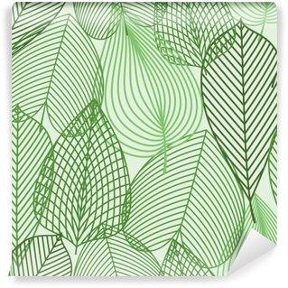 Tvättbar Fototapet Spring gröna blad seamless