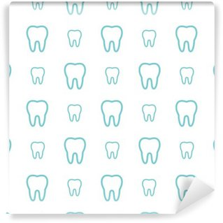 Tvättbar Fototapet Tänderna på vit bakgrund. Vector tand Seamless.