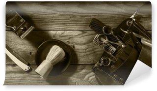 Tvättbar Fototapet Tappning uppsättning Barbershop.Toning sepia
