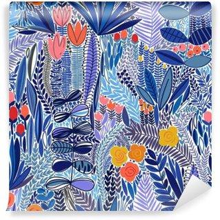 Tvättbar Fototapet Tropiska sömlösa blommönster