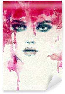 Tvättbar Fototapet Vacker kvinna. akvarell illustration