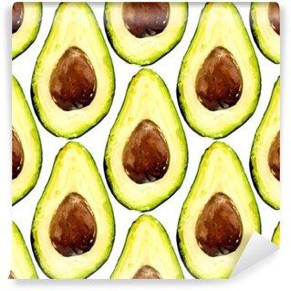 Tvättbar Fototapet Vackra avokado upprepat mönster, bestod av halvor av en frukt med grop. Vektor illustration.