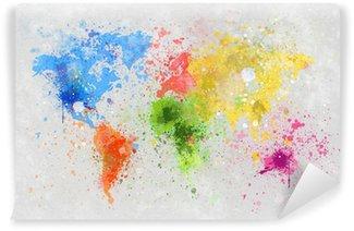 Tvättbar Fototapet Världskartan målning