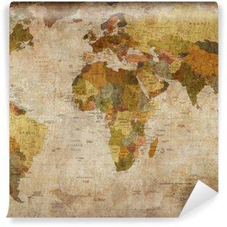 Tvättbar Fototapet Världskartan