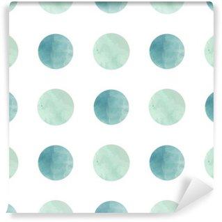 Tvättbar Fototapet Vattenfärg textur. Seamless mönster. Vattenfärg cirklar i pastellfärger på vit bakgrund. Pastellfärger och romantiska delikat design. Polka Dot Pattern. Färska och Mint färger.