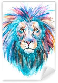 Tvättbar Fototapet Vattenfärg vektor lion