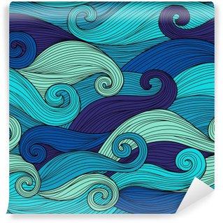 Tvättbar Fototapet Vector seamless med abstrakta vågor