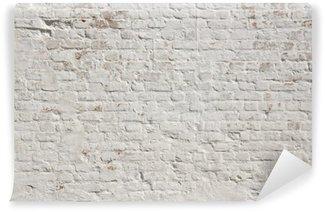 Tvättbar Fototapet Vit Grunge tegel vägg bakgrund