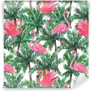 Akvarell rosa flamingos, exotiska fåglar, tropiska palmblad. s