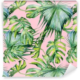 Sömlös vattenfärg illustration av tropiska löv, tät djungel. handmålad. banner med tropisk sommartid kan användas som bakgrundsstruktur, inslagspapper, textil- eller tapetdesign.