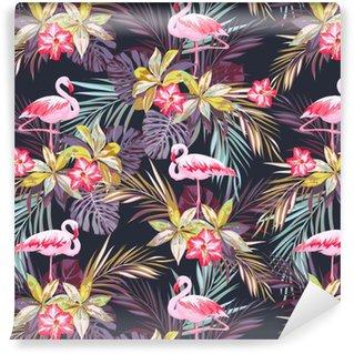 Tropisk sommar seamless med flamingo fåglar och exotiska växter