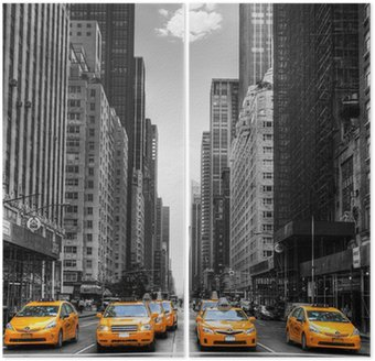 Tweeluik Avenue avec des taxis à New York.