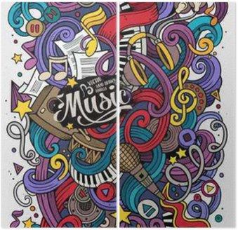 Tweeluik Cartoon hand getekende doodles Musical illustratie