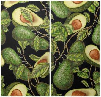 Tweeluik Hand getrokken avocado's op een donkere achtergrond, naadloos patroon