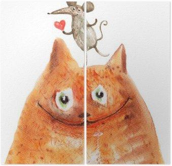 Tweeluik Kat met mause