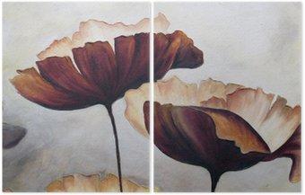 Tweeluik Poppy abstract schilderij