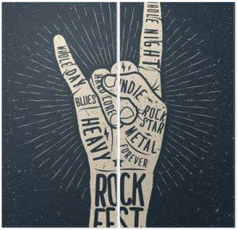 Tweeluik Rock festival poster, flyer. Vector hand tekenen gestileerde afbeelding.