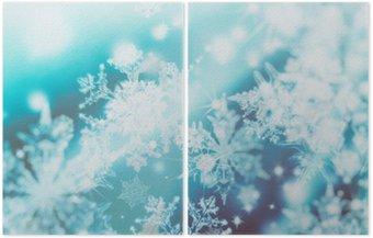 Tweeluik Shimmering blur spotjes op abstracte achtergrond. Patroon van sneeuwvlokken