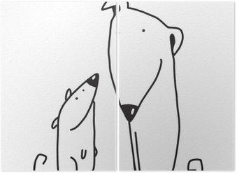 Tweeluik Twee cartoon bruine hond ouder en kind